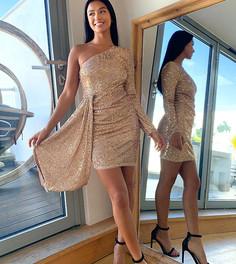 Золотистое платье мини с пайетками, с открытым плечом и ниспадающей вставкой, из эксклюзивной коллекции для миниатюрных девушек Jaded Rose Petite-Золотой