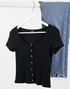 Черная футболка из органического хлопка с пуговицами Monki Quinny-Черный
