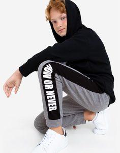 Серые спортивные брюки с лампасами для мальчика Gloria Jeans