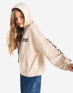 Бежевое худи oversize с надписями для девочки Gloria Jeans
