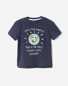 Синяя футболка oversize с рисунком для малыша Gloria Jeans