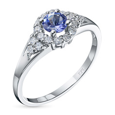 Кольцо из белого золота с танзанитом и бриллиантом э0942кц04200728 ЭПЛ Якутские Бриллианты