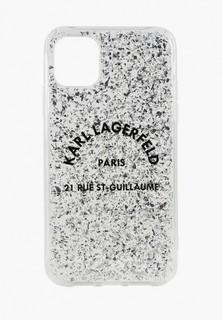 Чехол для iPhone Karl Lagerfeld 11 Pro, Liquid glitter Rue Saint Guillaume Hard Silver