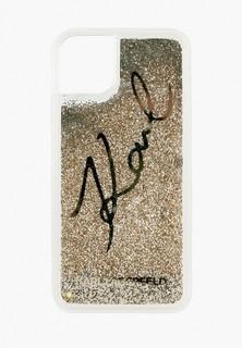 Чехол для iPhone Karl Lagerfeld 11 Pro, Liquid glitter Karl signature Hard Transp/Gold