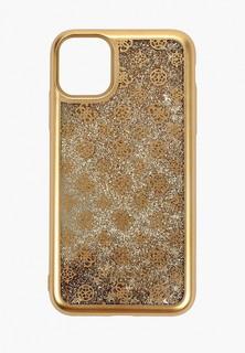 Чехол для iPhone Guess 11, Liquid glitter 4G Peony Hard Gold