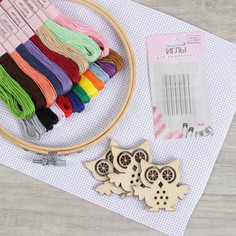 Набор для вышивания крестиком: канва без рисунка 30×20 см, нитки 20 шт, пяльцы d15 см, иглы 6 шт, шпульки 3 шт Арт Узор