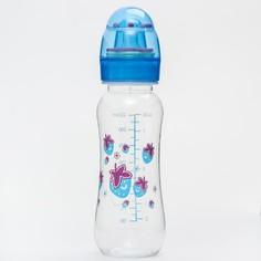 Бутылочка для кормления, крышка-погремушка, 225 мл., цвет голубой