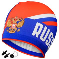 Набор взрослый russia, шапочка для плавания, беруши, зажим для носа Onlitop