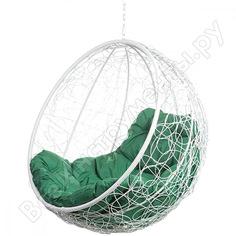 Подвесное кресло bigarden kokos white bs, зеленая подушка