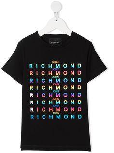 John Richmond Junior футболка с логотипом металлик