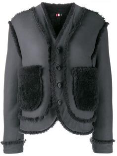 Thom Browne двусторонняя дубленка с приспущенными плечами