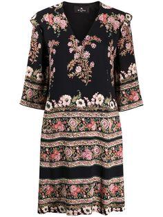Etro платье мини с цветочным принтом
