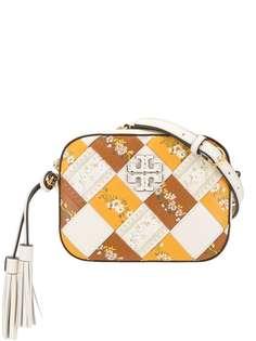 Tory Burch каркасная сумка с плетением и цветочным принтом