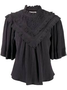 Isabel Marant Étoile футболка с оборками и английской вышивкой