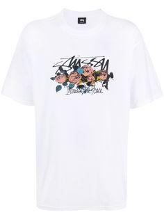 Stussy футболка с цветочным принтом и логотипом