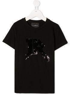 John Richmond Junior футболка с логотипом и пайетками