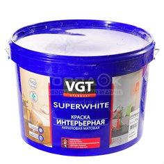 Краска водоэмульсионная VGT Superwhite интерьерная влагостойкая белая, 15 кг