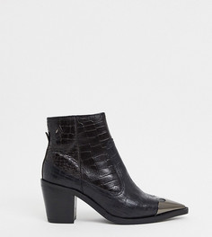 Кожаные ботинки в стиле вестерн с крокодиловым рисунком ASRA-Черный