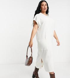 Белое платье миди с карманамиASOS DESIGN Curve-Белый