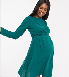 Зеленое платье мини с запахом и длинными рукавами ASOS DESIGN Maternity-Зеленый