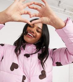 Удлиненный пуховик с принтом сердечек Wednesdays Girl-Фиолетовый