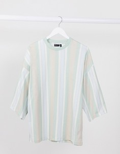 Oversized-футболка с широкими рукавами три четверти и вертикальными полосками ASOS DESIGN-Зеленый