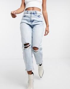 Голубые рваные джинсы в винтажном стиле с потрепанными краями Bershka-Синий