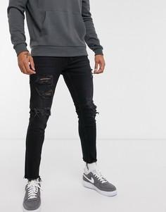Черные рваные джинсы скинни Bershka-Черный