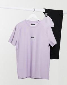 Плотная фиолетовая футболка Bershka-Фиолетовый