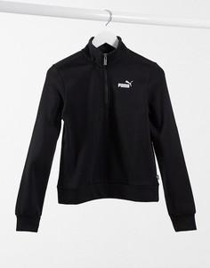 Черный свитшот с укороченной молнией Puma Essentials