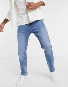 Светло-синие джинсы прямого кроя Bershka-Синий