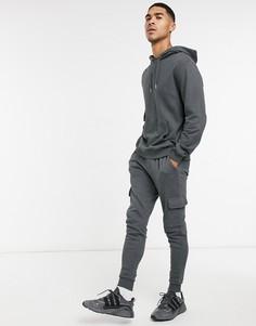 Черное худи и спортивные брюки карго ASOS DESIGN-Черный