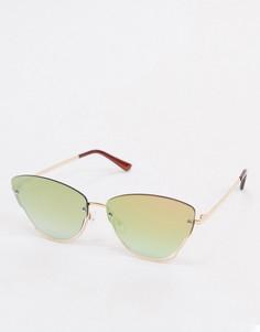 Золотистые солнцезащитные очки-бабочка c вырезом у линз Jeepers Peepers-Золотой