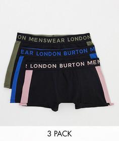 Набор из трех боксеров-брифов темно-синего цвета с полосками по бокам Burton Menswear-Темно-синий