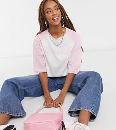 """Футболка свободного кроя в стиле oversized с рукавами реглан с винтажным принтом """"LOS ANGELES"""" Daisy Street-Розовый"""
