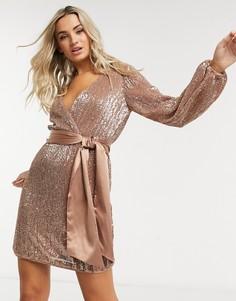 Розовое платье мини с запахом и пайетками Forever New-Розовый