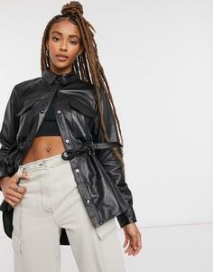 Черный анорак Lab leather