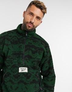 Зеленая флисовая куртка на молнии до середины с принтом Reebok Classics-Зеленый