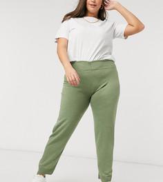 Джоггеры цвета хаки в рубчик Fashionkilla Plus-Зеленый