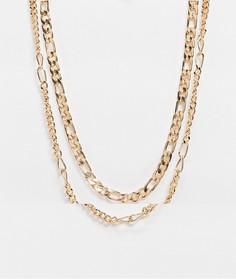 Золотистая тонкая цепочка плетения «фигаро» в два ряда 5 мм ASOS DESIGN-Золотой