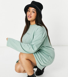 Однотонное платье-футболка с длинными рукавами и логотипом New Girl Order Curve-Зеленый