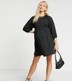 Черное платье с пышными рукавами Missguided Maternity-Черный