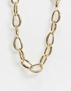 Золотистое ожерелье-цепочка с крупными звеньями Monki Willow-Золотой