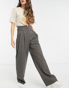 Широкие брюки в клетку Selected Femme-Мульти