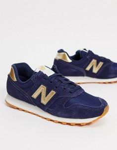 Темно-синие/золотистые кроссовки New Balance 373-Темно-синий