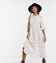 Свободное платье макси Rokoko с оборками и винтажным принтом «ромашки»-Розовый