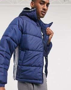 Темно-синий пуховик с 3 полосками adidas Originals