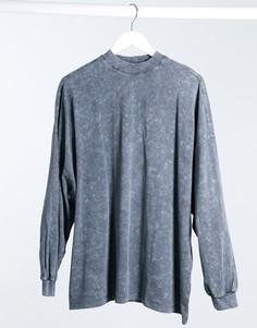 Темно-серая оversized-футболка с длинными рукавами с эффектом кислотной стирки ASOS DESIGN-Серый