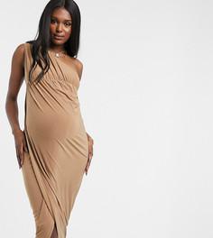 Элегантное платье макси на одно плечо с разрезом до бедра бежевого цвета Club L London Maternity-Светло-коричневый