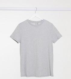 Серая меланжевая футболка с круглым вырезом из органического хлопка ASOS DESIGN Maternity-Серый